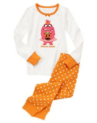 Girls Ivory/Pumpkin Orange Trick Or Treat Monster Two-Piece Gymmies® by Gymboree