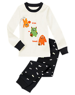 Toddler Boys Ivory/Black Trick Or Treat Monsters Two-Piece Gymmies® by Gymboree