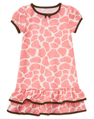 Pink Giraffe Giraffe Print Pajama Gown by Gymboree