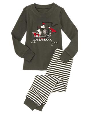 Toddler Boys Pirate Grey Pirate Ship Two-Piece Gymmies® by Gymboree