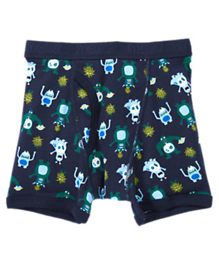 Boys Spaceship Navy Aliens Boxer Brief by Gymboree
