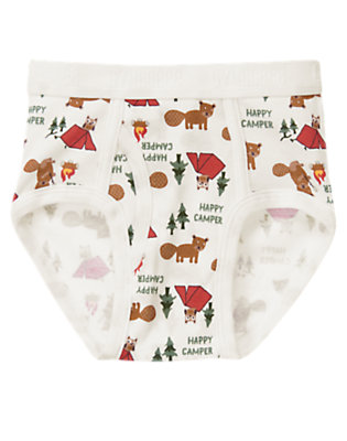 Boys White Happy Camper Brief by Gymboree