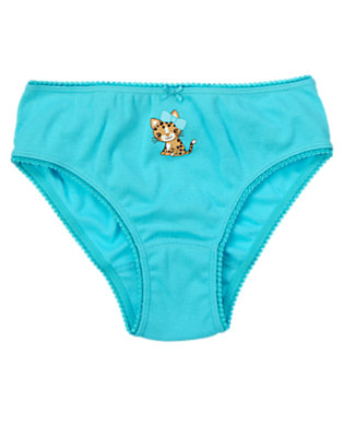 Toddler Girls Turquoise Blue Leopard Kitty Panty by Gymboree