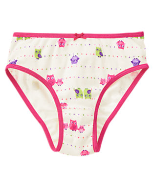 Toddler Girls Vanilla Ivory Owl Dot Panty by Gymboree