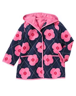 Girls Gym Navy Argyle Argyle Flower Hooded Raincoat by Gymboree