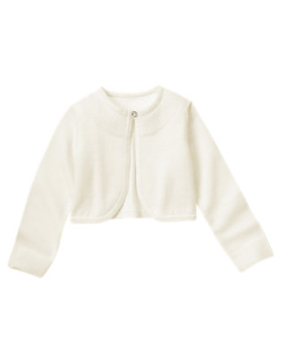 Girls Jet Ivory Pointelle Crop Sweater Cardigan by Gymboree