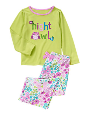Girls Lime Green Night Owl Two-Piece Pajama Set by Gymboree