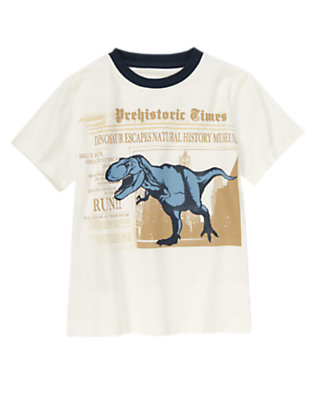 Ivory Escaped T-Rex Short Sleeve Tee by Gymboree