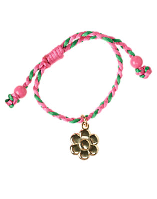 Girls Metallic Gold Flower Charm Braided Bracelet by Gymboree
