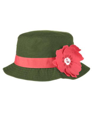 Girls Dark Olive Green Gem Flower Bucket Hat by Gymboree