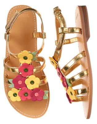 Girls Metallic Gold Flower Metallic Sandal by Gymboree