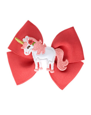 Coral Pink Unicorn Bow Hair Clip by Gymboree