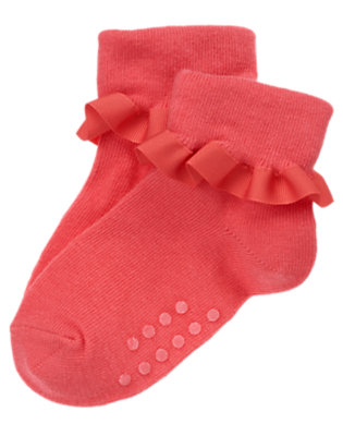 Toddler Girls Coral Pink Ruffle Sock by Gymboree