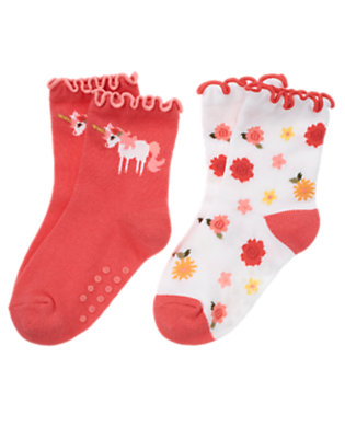 Toddler Girls Coral Pink Unicorn Flower Sock Two-Pack by Gymboree