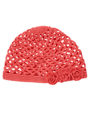Toddler Girls Coral Pink Rosette Crochet Hat by Gymboree