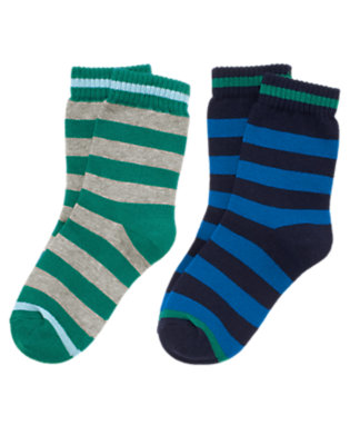 Spaceship Navy Stripe Stripe Sock Two-Pack by Gymboree