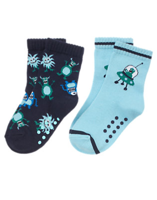 Toddler Boys Sky Blue Spaceship Alien Sock Two-Pack by Gymboree