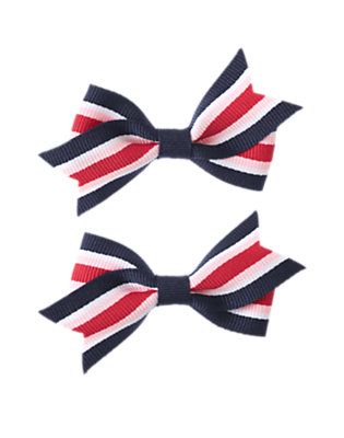 Girls Gym Navy Stripe Stripe Bow Clip Two-Pack by Gymboree