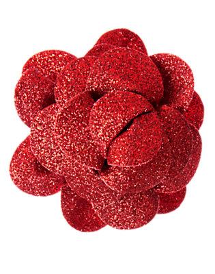 Girls Poppy Red Glitter Rosette Hair Clip by Gymboree