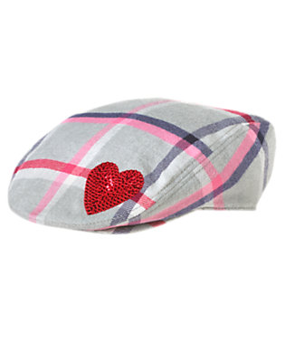 Girls Heather Grey Plaid Sequin Heart Plaid Cap by Gymboree