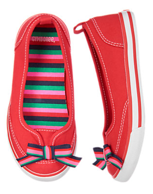 Girls Poppy Red Stripe Bow Sneaker by Gymboree