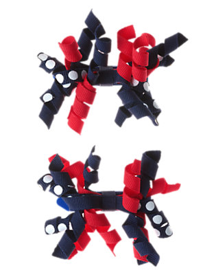 Toddler Girls Gym Navy Dot Curly Hair Clip Two-Pack by Gymboree