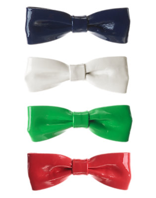 Girls Poppy Red Patent Bow Hair Clip Four-Pack by Gymboree
