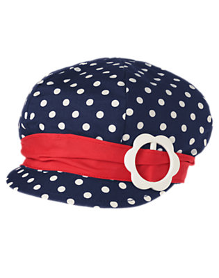 Toddler Girls Gym Navy Dot Flower Buckle Dot Hat by Gymboree