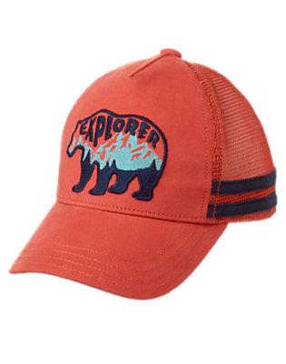 Boys Campfire Red Explorer Bear Baseball Cap by Gymboree