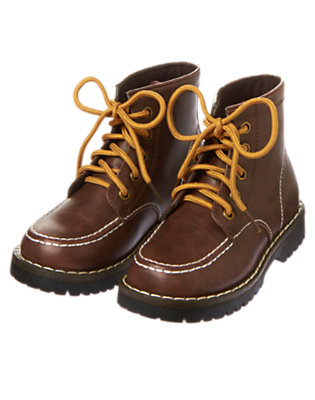 Brown Lace Up Woodsman Boot by Gymboree