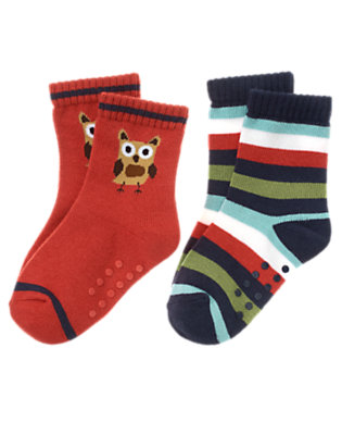 Toddler Boys Campfire Red Owl Stripe Sock Two-Pack by Gymboree