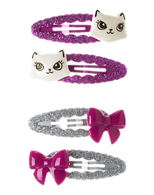 Girls Princess Purple Kitty Bow Snap Clip Four-Pack by Gymboree