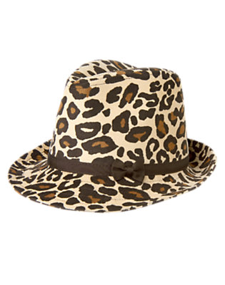 Girls Tan Leopard Leopard Corduroy Fedora by Gymboree