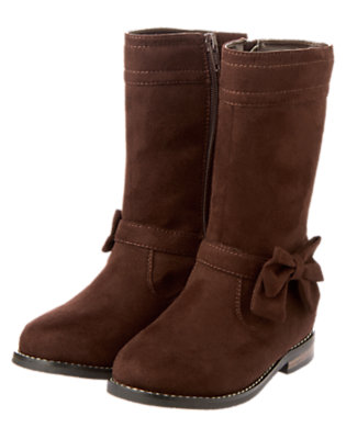 Girls Brown Bow Suede Boot by Gymboree