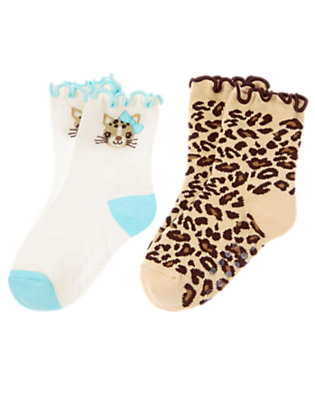 Toddler Girls Tan Leopard/Ivory Leopard Kitty Sock Two-Pack by Gymboree