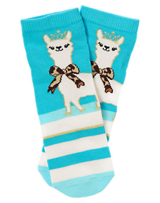 Toddler Girls Turquoise Blue Alpaca Princess Knee Sock by Gymboree