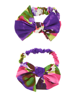 Girls Purple Freesia Floral Floral Bow Pony Holder Two-Pack by Gymboree