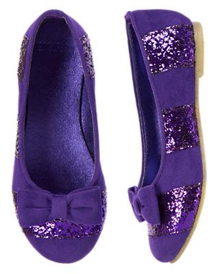 Girls Jewel Purple Glitter Stripe Ballet Flat by Gymboree
