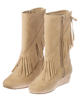 Girls Tan Fringe Faux Suede Wedge Boot by Gymboree