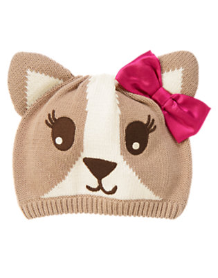 Toddler Girls Perky Pink Stripe Bow Corgi Sweater Hat by Gymboree