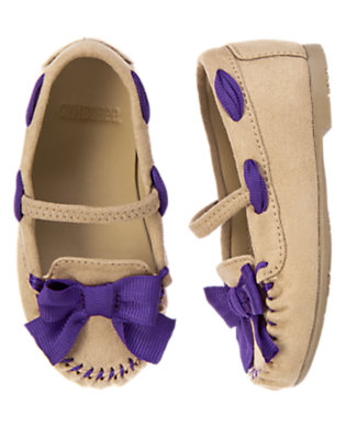 Toddler Girls Tan Bow Faux Suede Moccasin by Gymboree