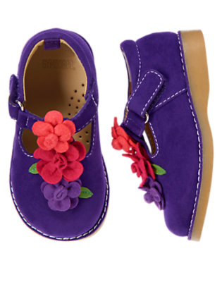 Toddler Girls Purple Freesia Flower Faux Suede Shoe by Gymboree