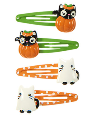 Girls Pumpkin Orange Halloween Cat Snap Clip Four-Pack by Gymboree