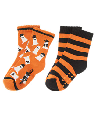 Toddler Boys Pumpkin Orange Cowboy Ghost Stripe Sock Two-Pack by Gymboree