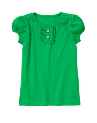 Kelly Green Gem Button Short Sleeve Tee by Gymboree