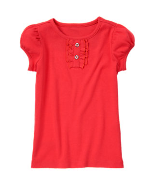 Poppy Red Gem Button Short Sleeve Tee by Gymboree