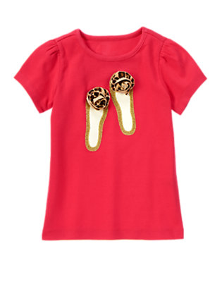 London Red Leopard Rosette Glitter Shoes Short Sleeve Tee by Gymboree