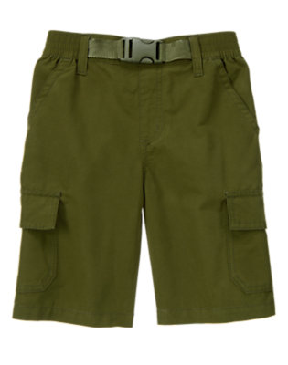 Boys Moss Green Belted Cargo Short by Gymboree