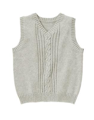 Boys Heather Grey Uniform Cable Sweater Vest by Gymboree