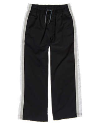 Boys Black Athletic Stripe Jersey Lined Pant by Gymboree